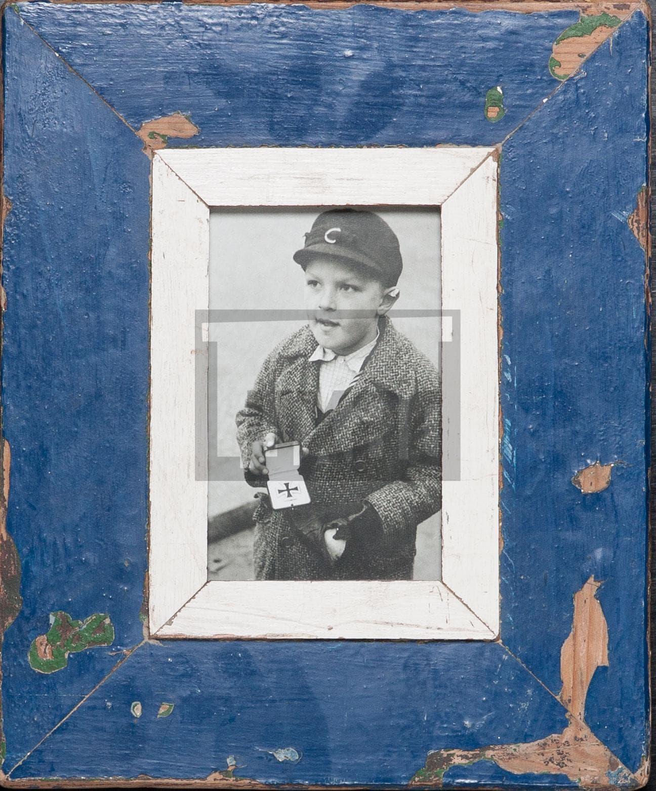 Blauer Vintage-Bilderrahmen für Postkarten
