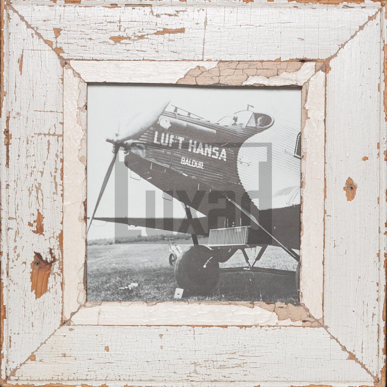 Quadratischer Vintage-Fotorahmen aus recyceltem Holz für quadratische 21 x 21 cm