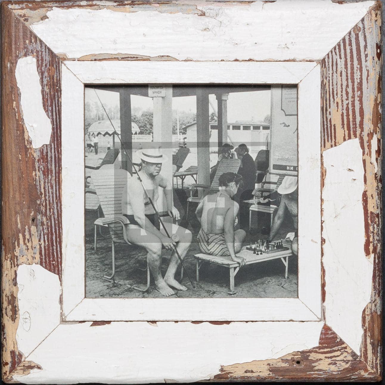 Quadratischer Vintage-Fotorahmen aus recyceltem Holz aus Kapstadt
