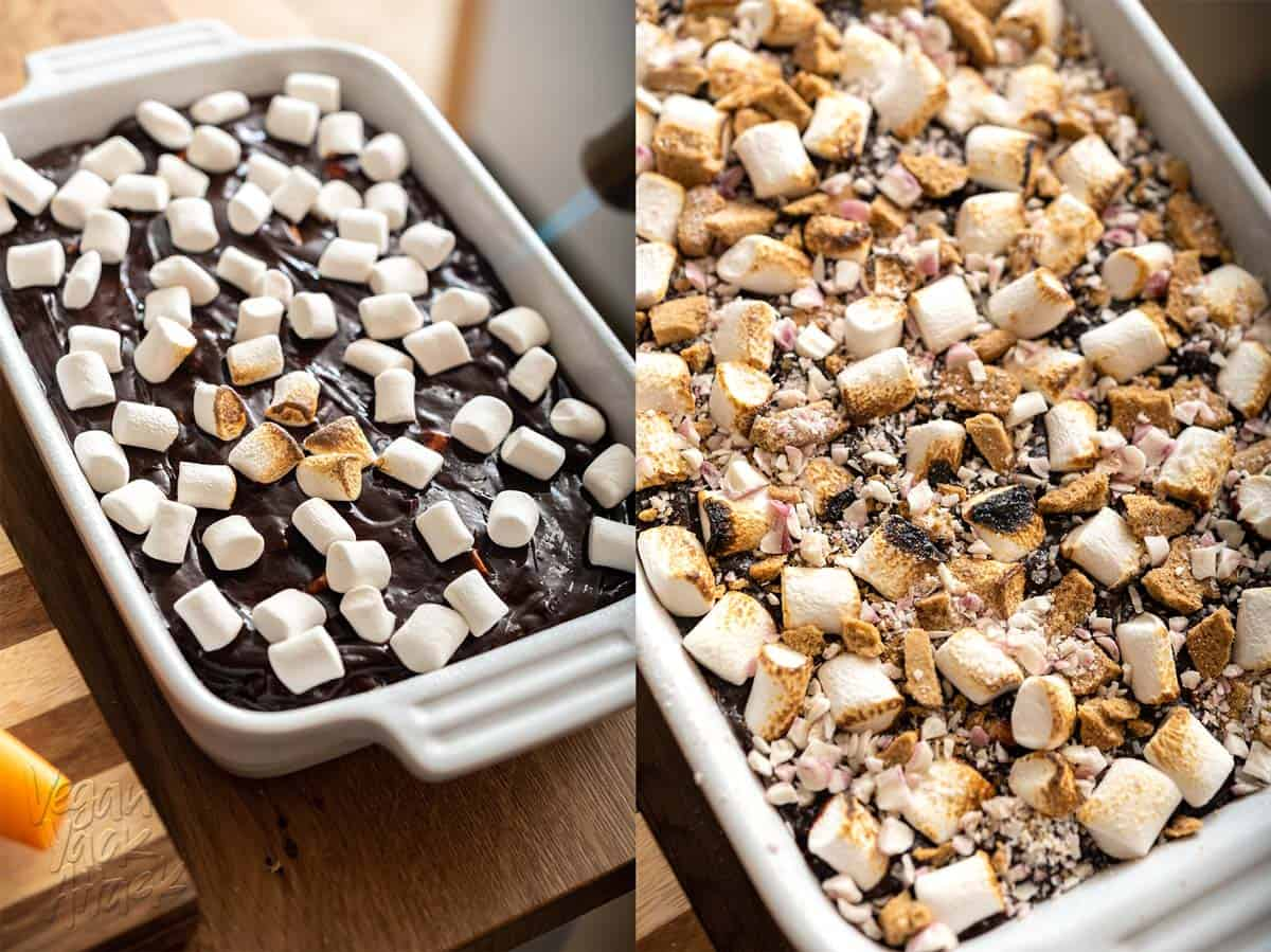 Left image: marshmallows on top of fudge being toasted with a torch. Right image: completed fudge