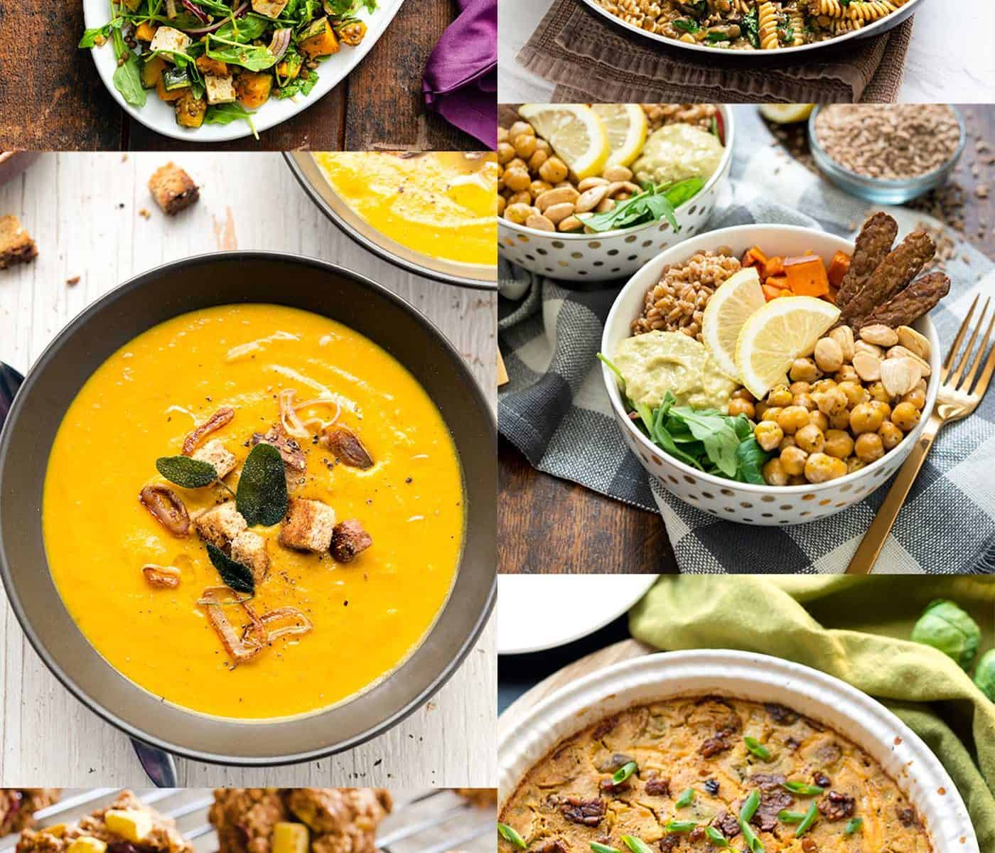 Image collage of autumn seasonal vegan dishes, including soup, pasta, quiche, cookies, and salad
