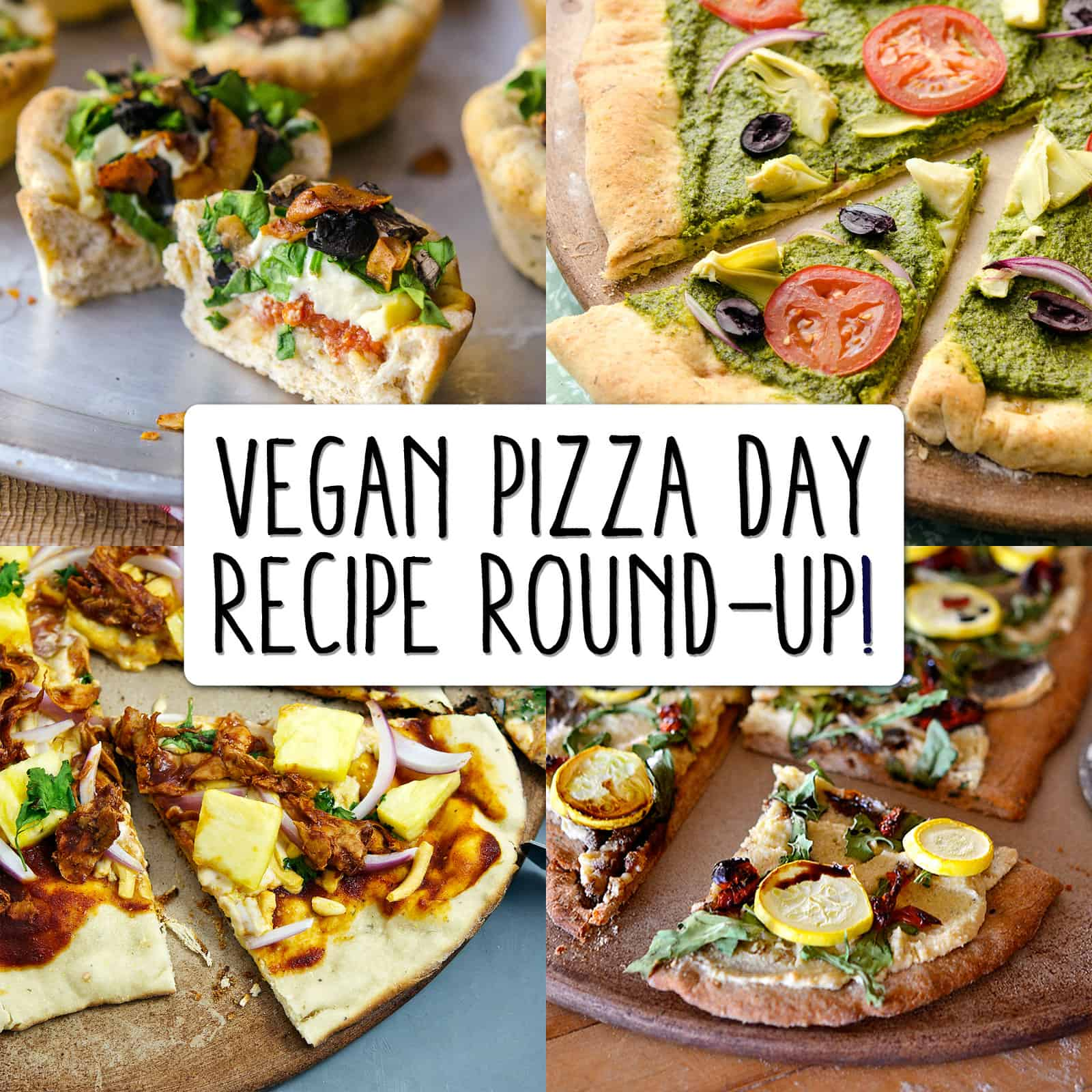 """Image collage of vegan pizzas with text overlay """"Vegan Pizza Day Round-up"""""""
