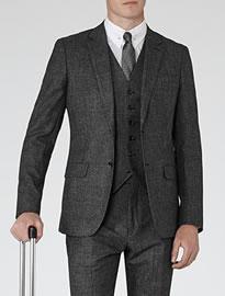 Reiss Parker Three Piece Suit Black/white