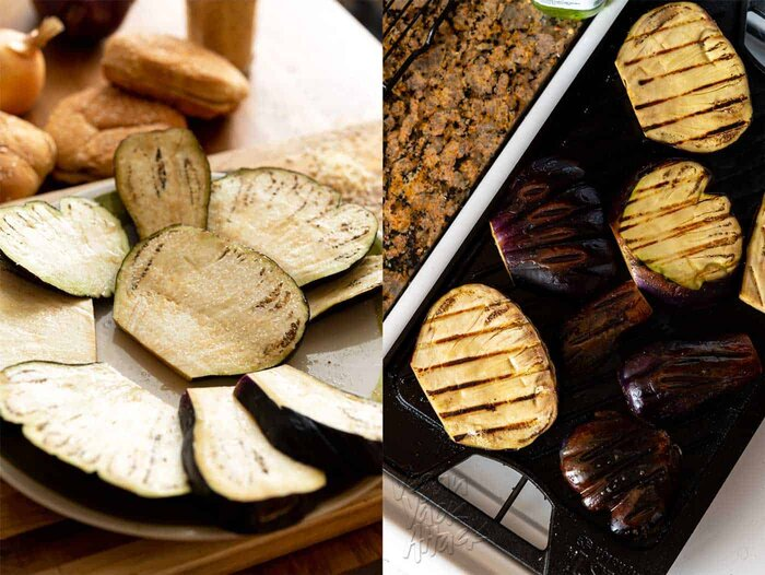 Image collage of salted eggplant and grilled eggplant