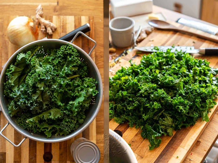 Image collage of recipe ingredients including chopped kale, onion, and ginger.