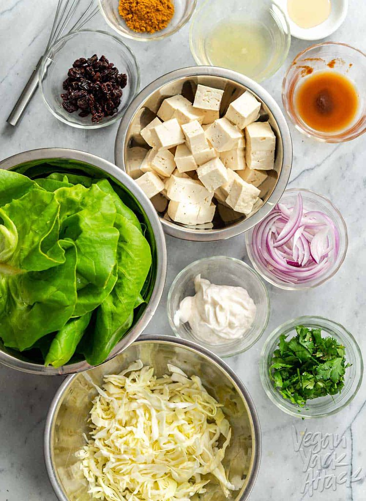 Ingredients for lettuce cups in steels bowls: tofu, cabbage, red onion, raisins, cilantro, vegan mayo, etc.