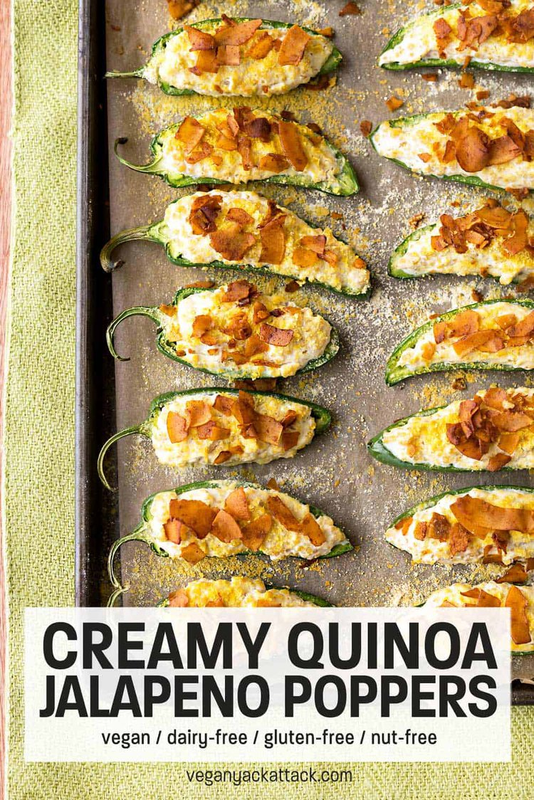 Creamy Quinoa Jalapeno Poppers with Coconut Bacon on a lined baking sheet