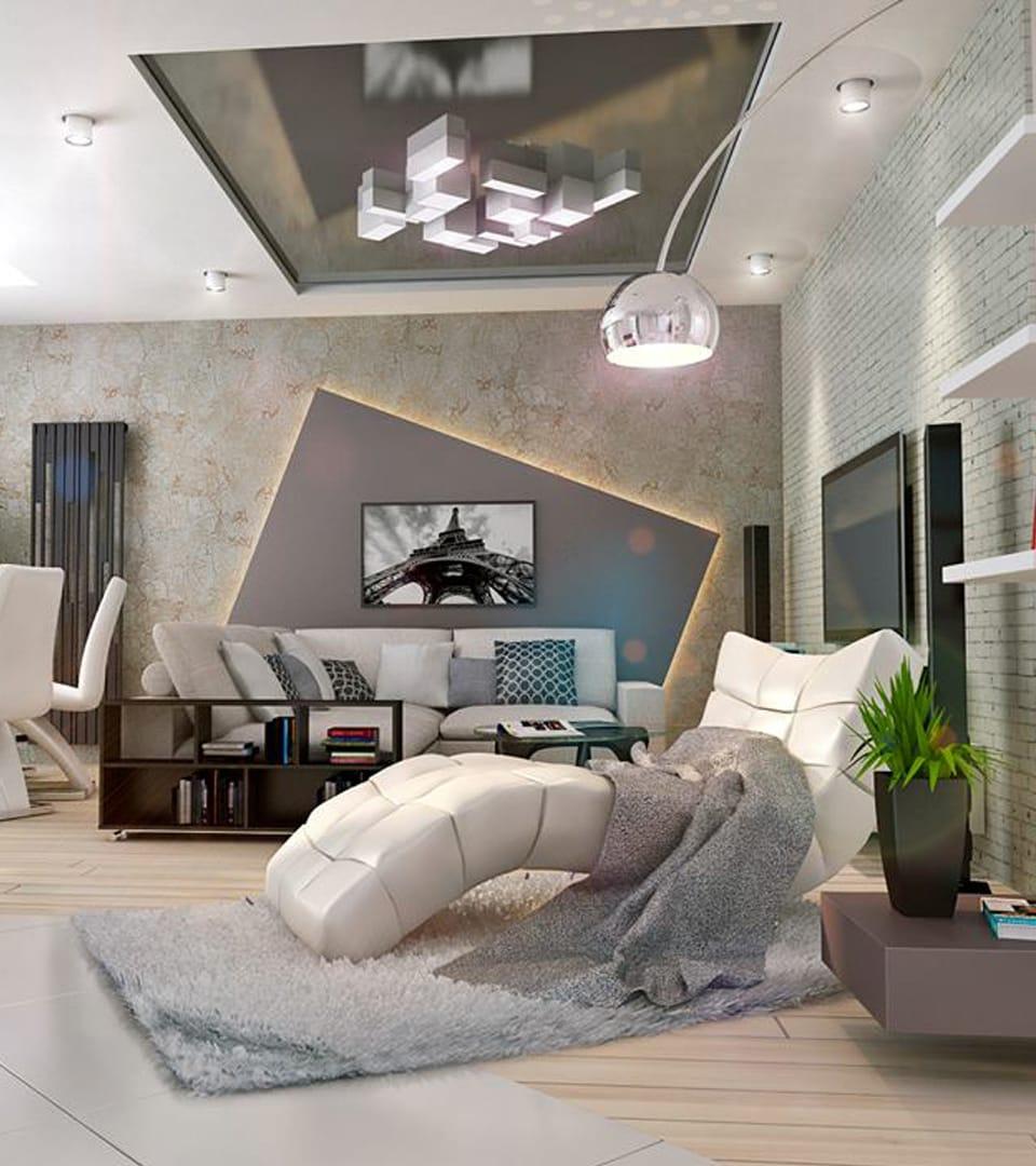 Натяжной потолок в гостиной 21 м2 5