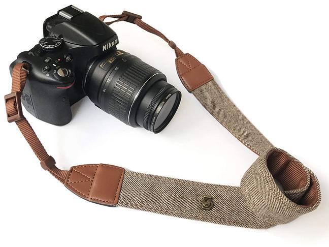 4. Alled Leather Vintage Print Soft Dây đeo máy ảnh -Preferred