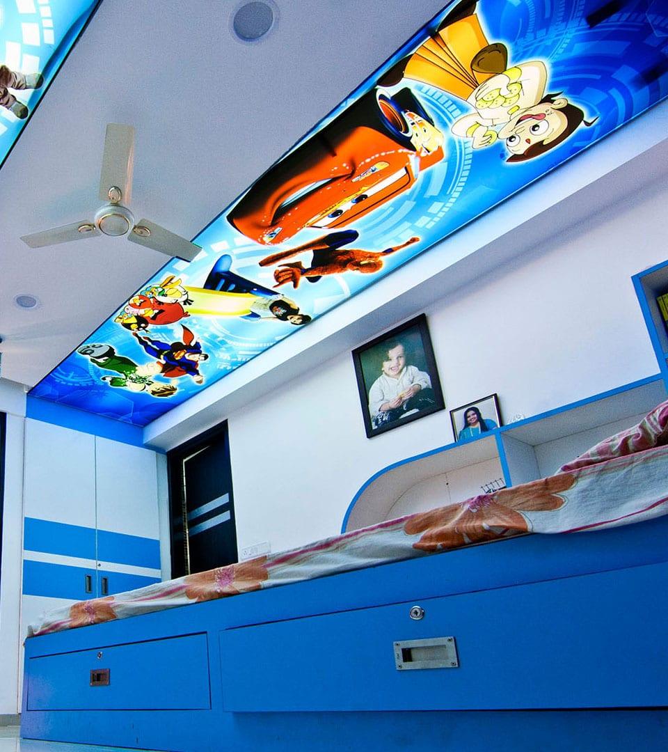 Двухуровневый натяжной потолок с фотопечатью 15 м2 1