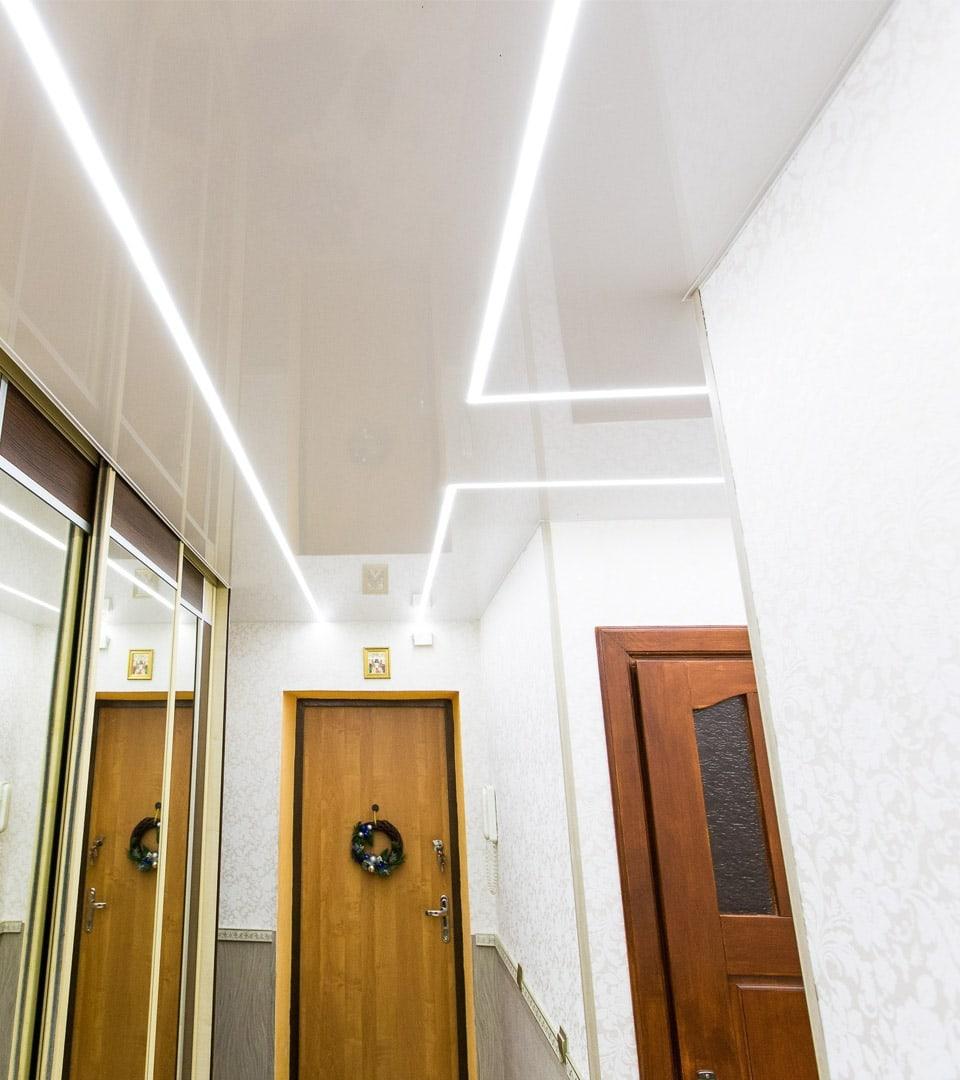 Натяжной потолок световые линии 12 м2 2