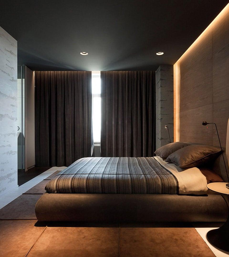 Натяжной потолок в спальне 16 м2 3