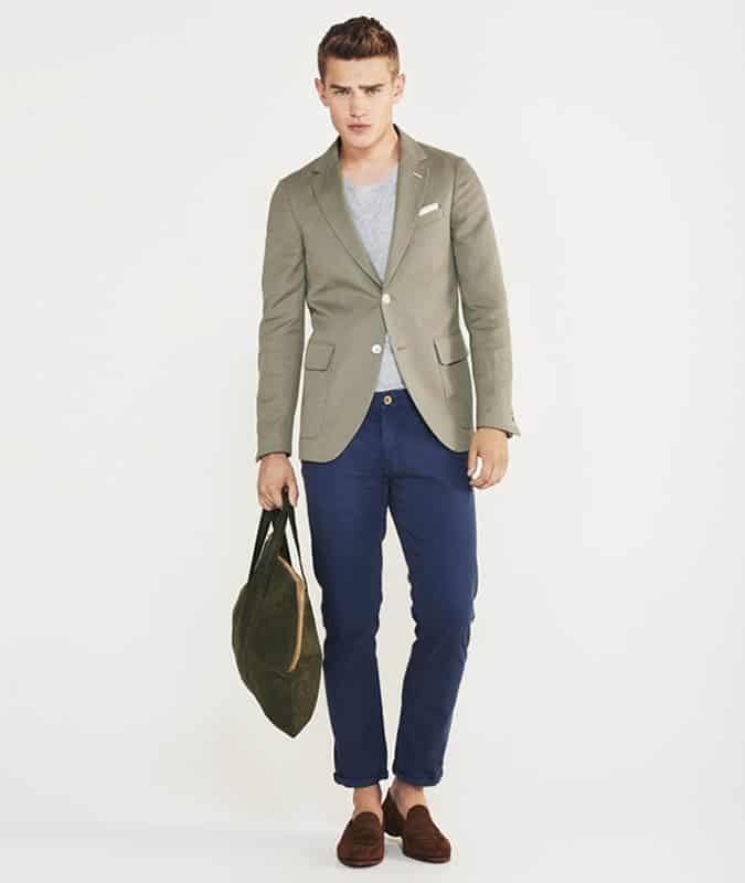 Men's Outfit Inspiration Lookbook - Green + Blue Blazer and Trouser Combos