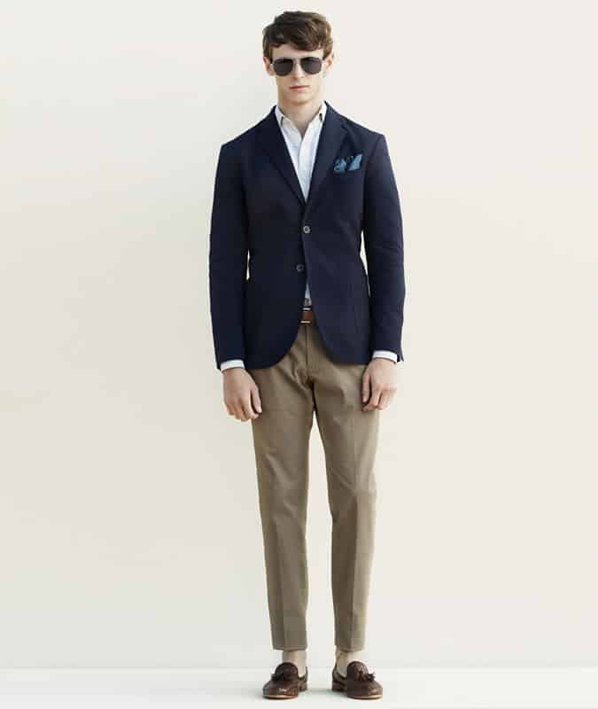 Men's Outfit Inspiration Lookbook - Navy Blazer + Beige Chinos