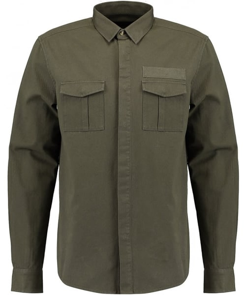 TWISTED SOUL Mens Khaki Long Sleeve Utility Shirt
