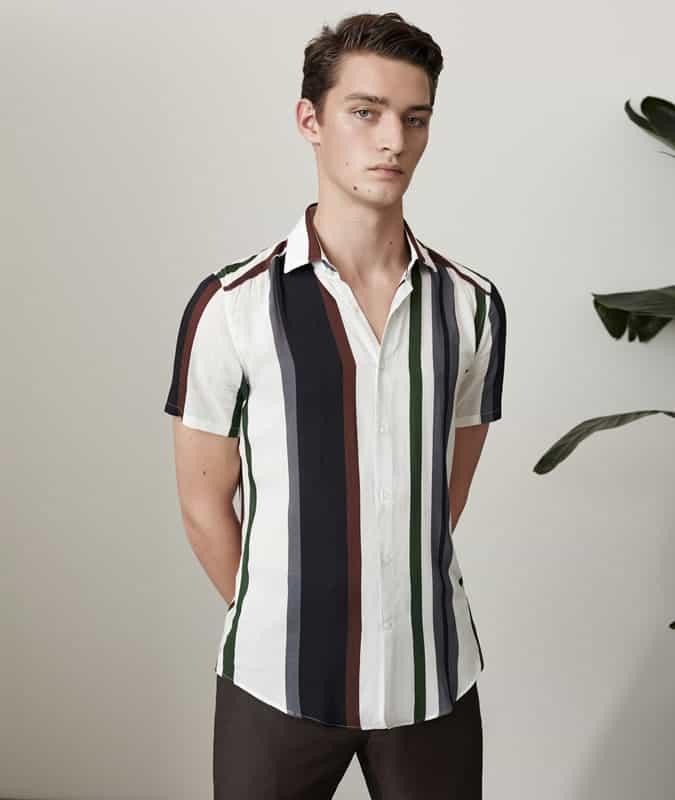 Football kit-style vertical stripe shirt
