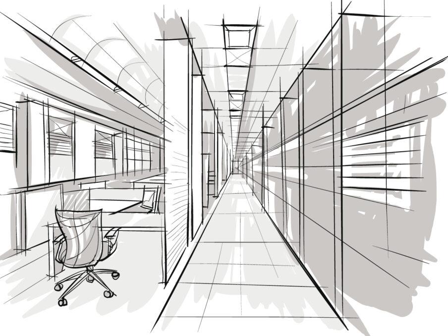 Schets interieurontwerp door architect kantoorinrichting