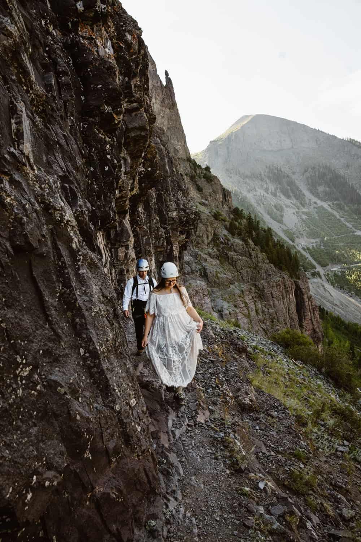 Bride and Groom Via Ferrata Elopement