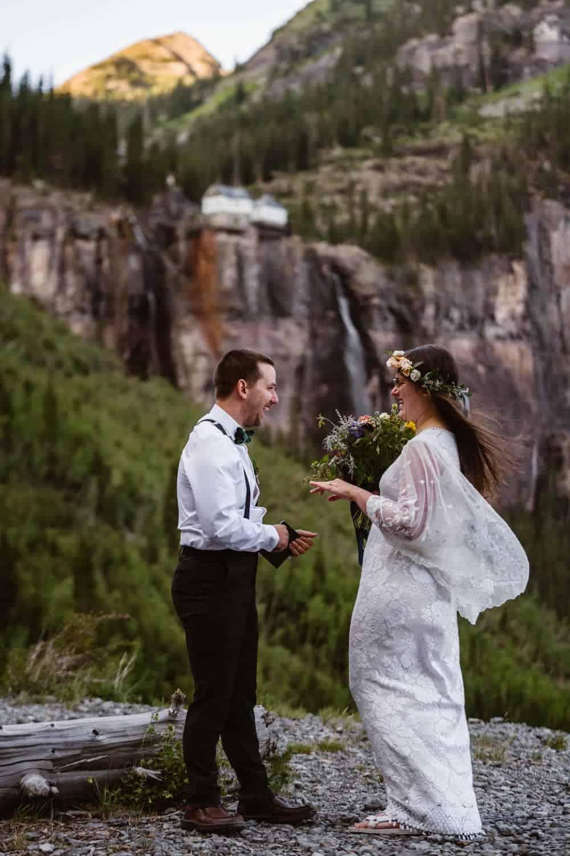 Bride and Groom Via Via Ferrata Elopement