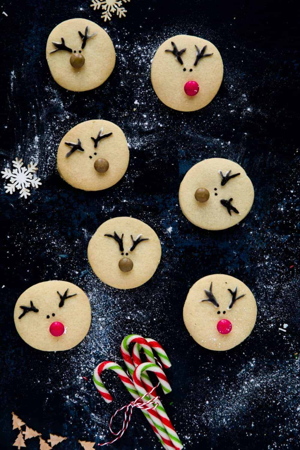 7 Reindeer biscuits on a dark background. The biscuits have icing piped antlers. 4 of the biscuits have a brown smartie for a nose and two have a red smartie.