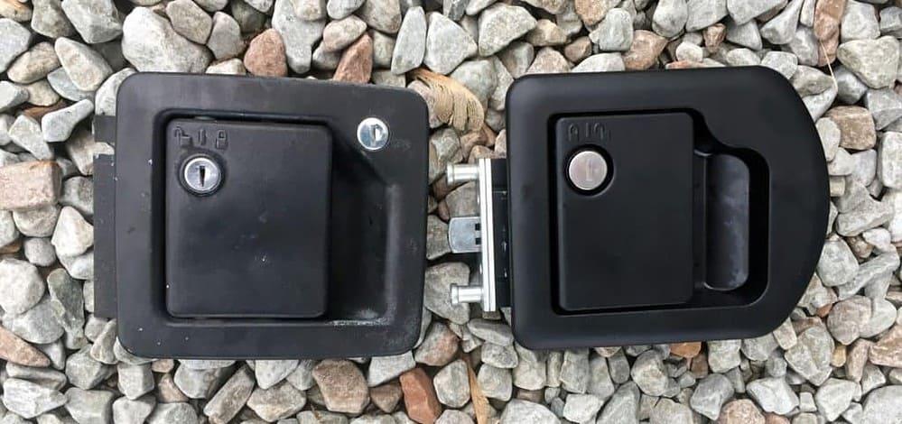 old vs new rv door lock set front
