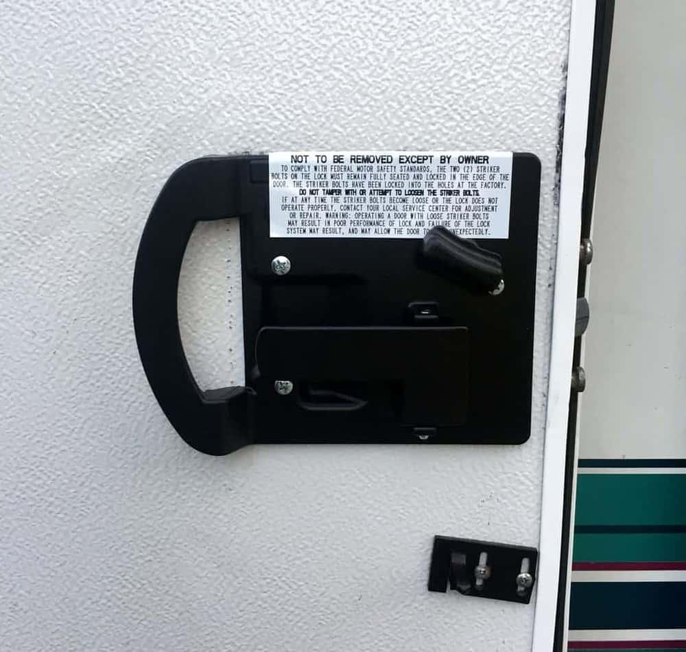 new rv door lock set finished