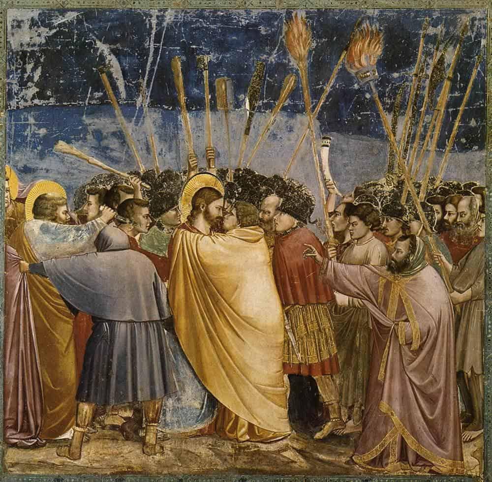 Giotto - Kiss of Judas. Fresco in Scrovegni Chapel, Padua, Italy (1304–06)