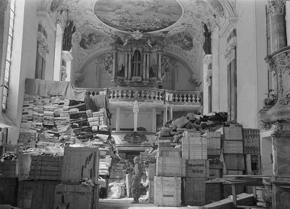 German loot stored at Schlosskirche Ellingen, Bavaria (April 1945)