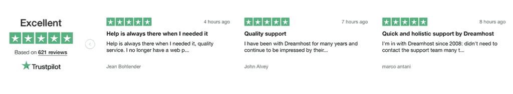 DreamHost TrustPilot reviews 2020