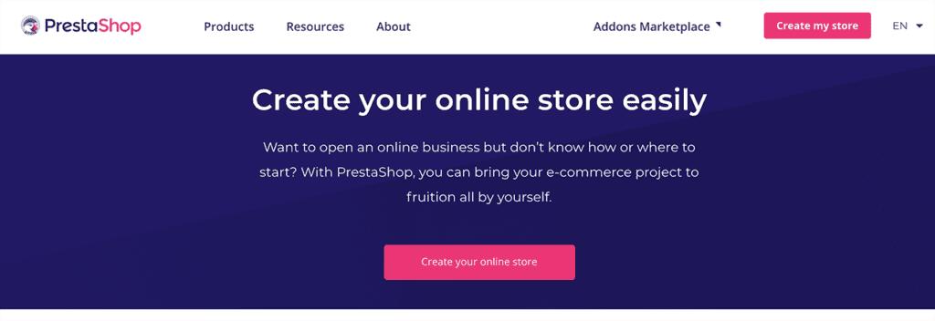PrestaShop create online store easily ecommerce