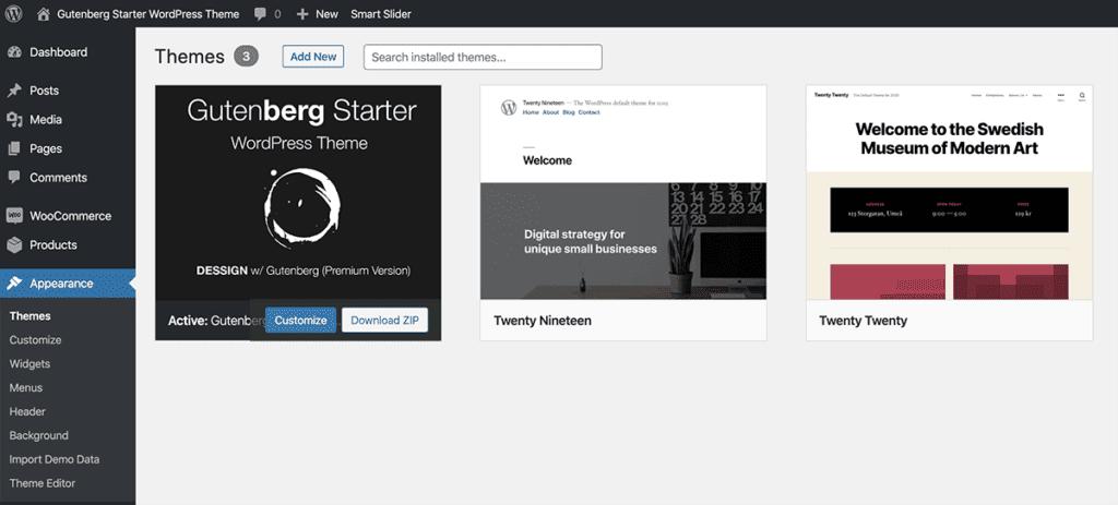 Install Gutenberg WordPress Theme