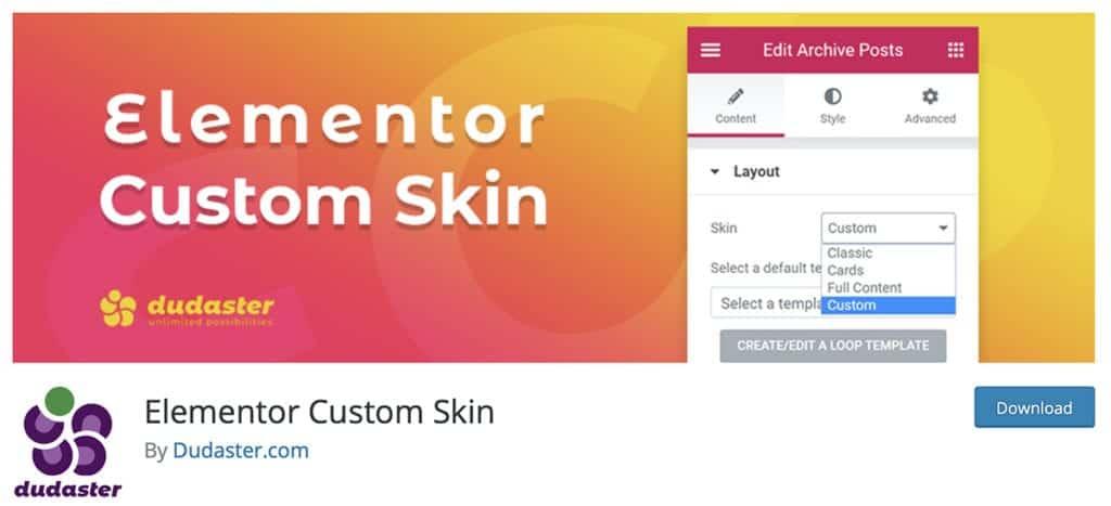 Elementor Custom Skin