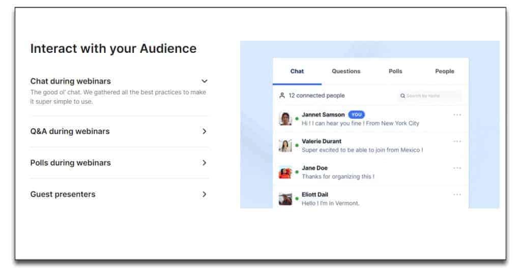 livestorm webinar audience interaction
