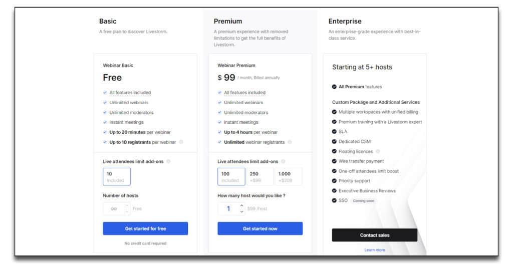 livestorm webinar pricing