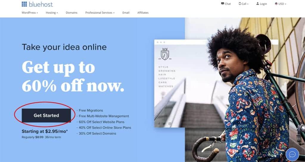 Bluehost best hosting for portfolio website with WordPress