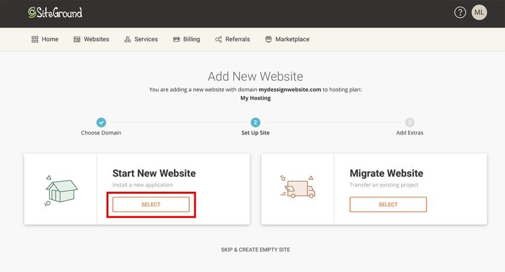 SiteGround add new website WordPress
