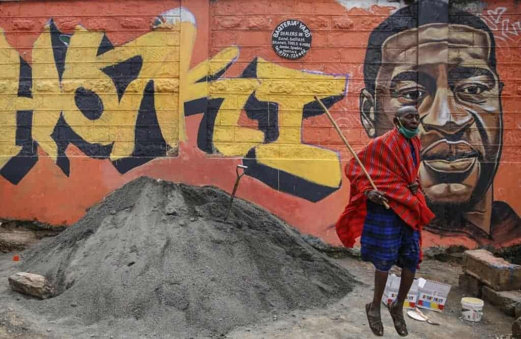 Graffiti commemorating Floyd in Nairobi, Kenya.