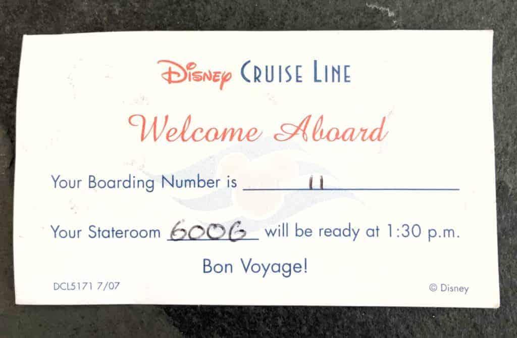 Boarding Card Disney Cruise Line