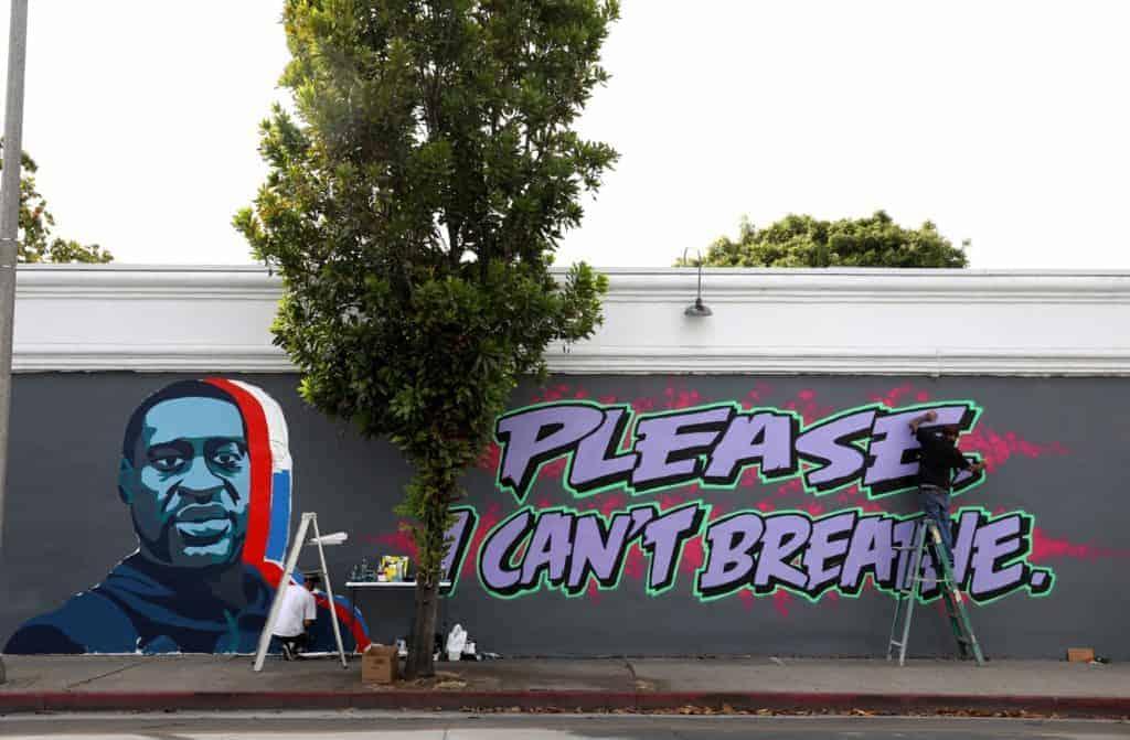 George Floyd mural in Santa Barbara.