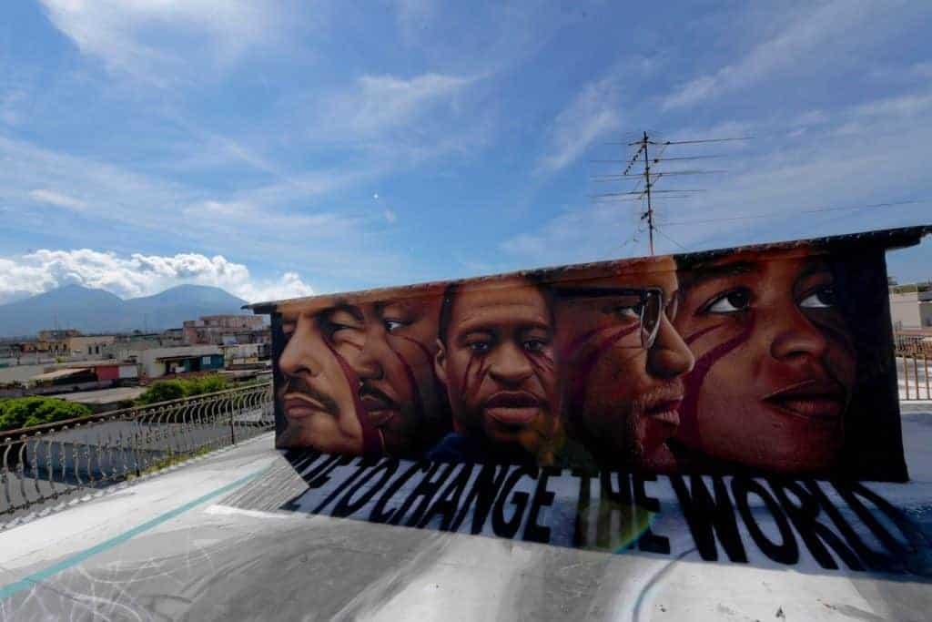 George Floyd mural in Naples.