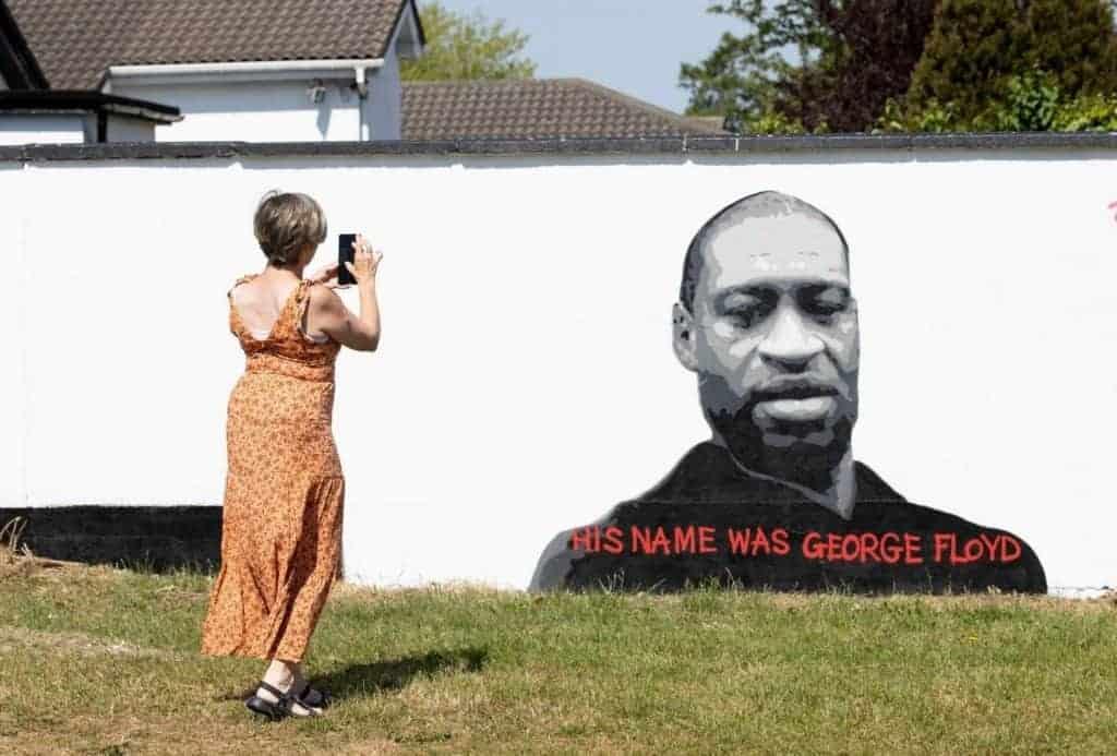 Emmalene Blake's mural honouring George Floyd, in Dublin.