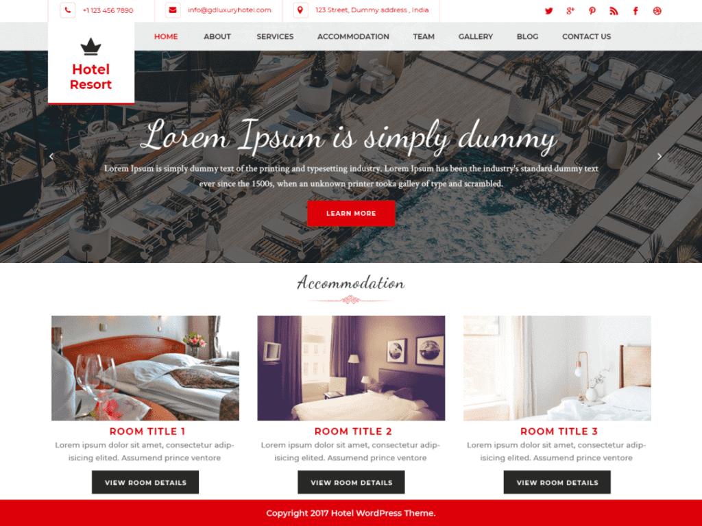 Hotel Resort wordpress free theme