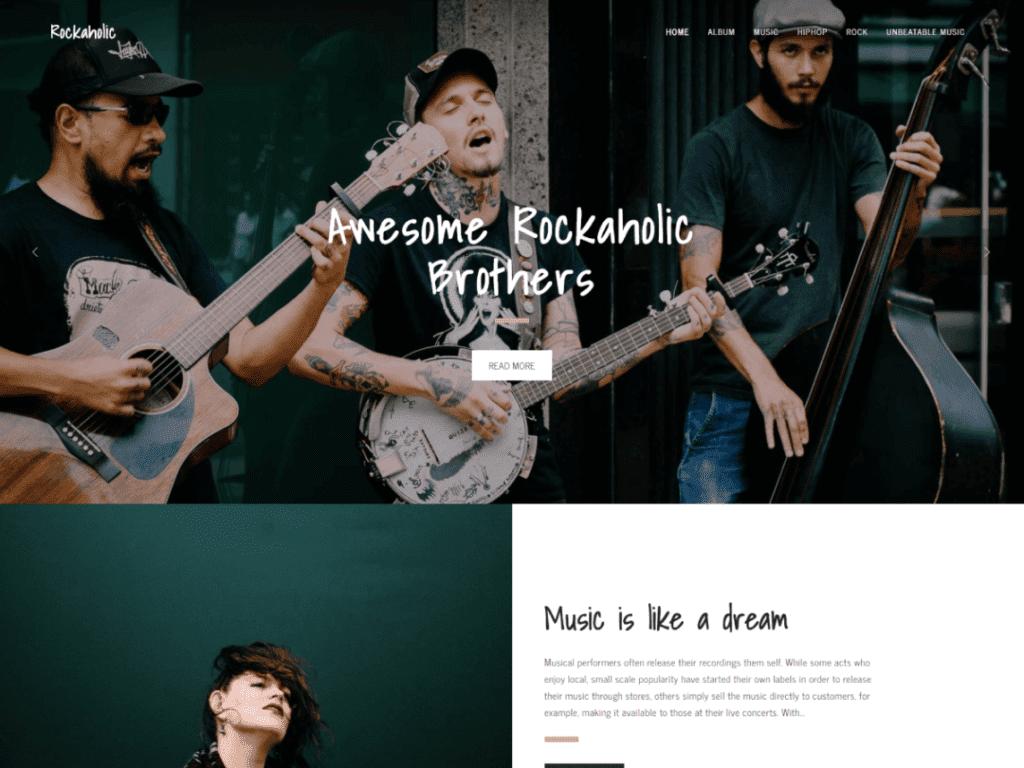 Rockaholic free wordpress theme