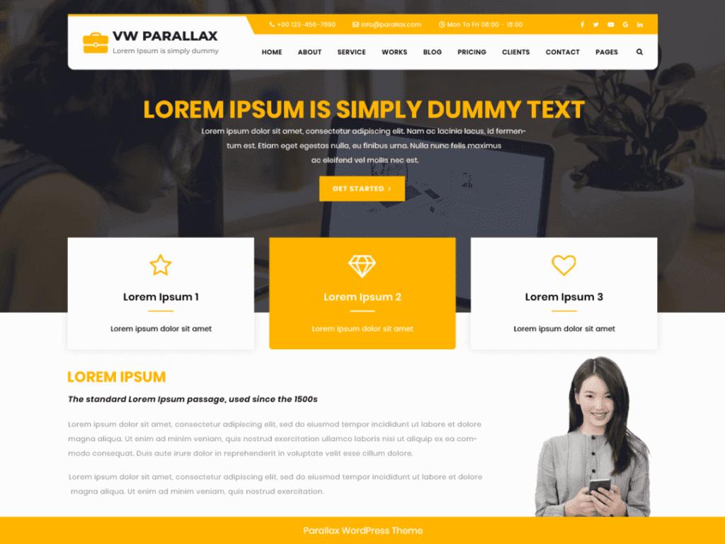 parallax best free WordPress theme
