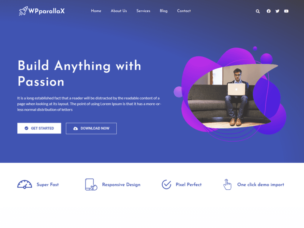 WP parallax is one page WordPress theme