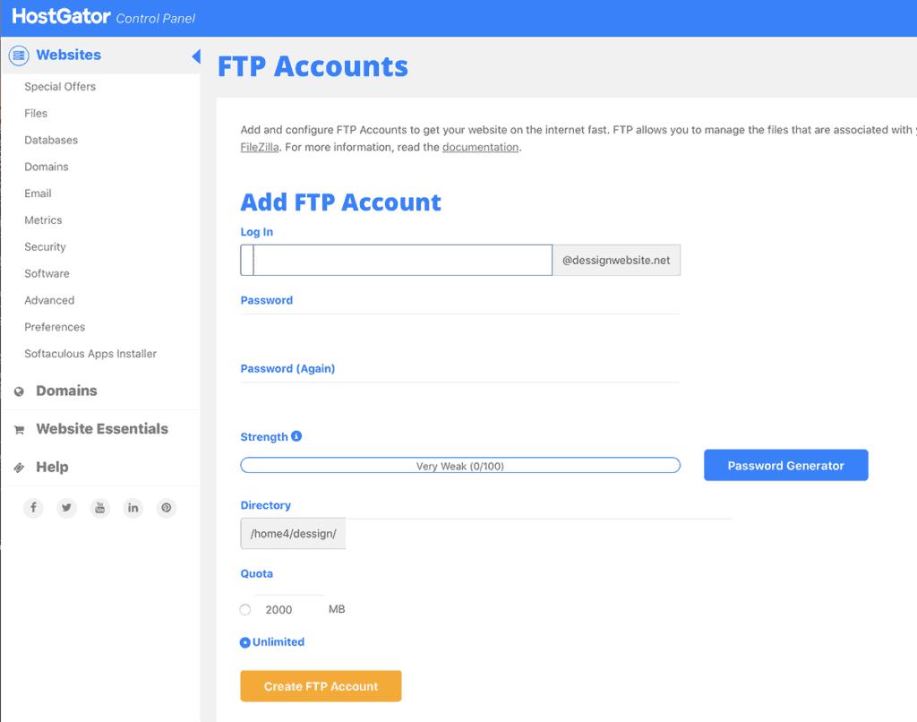 HostGator FTP Dashboard Overview
