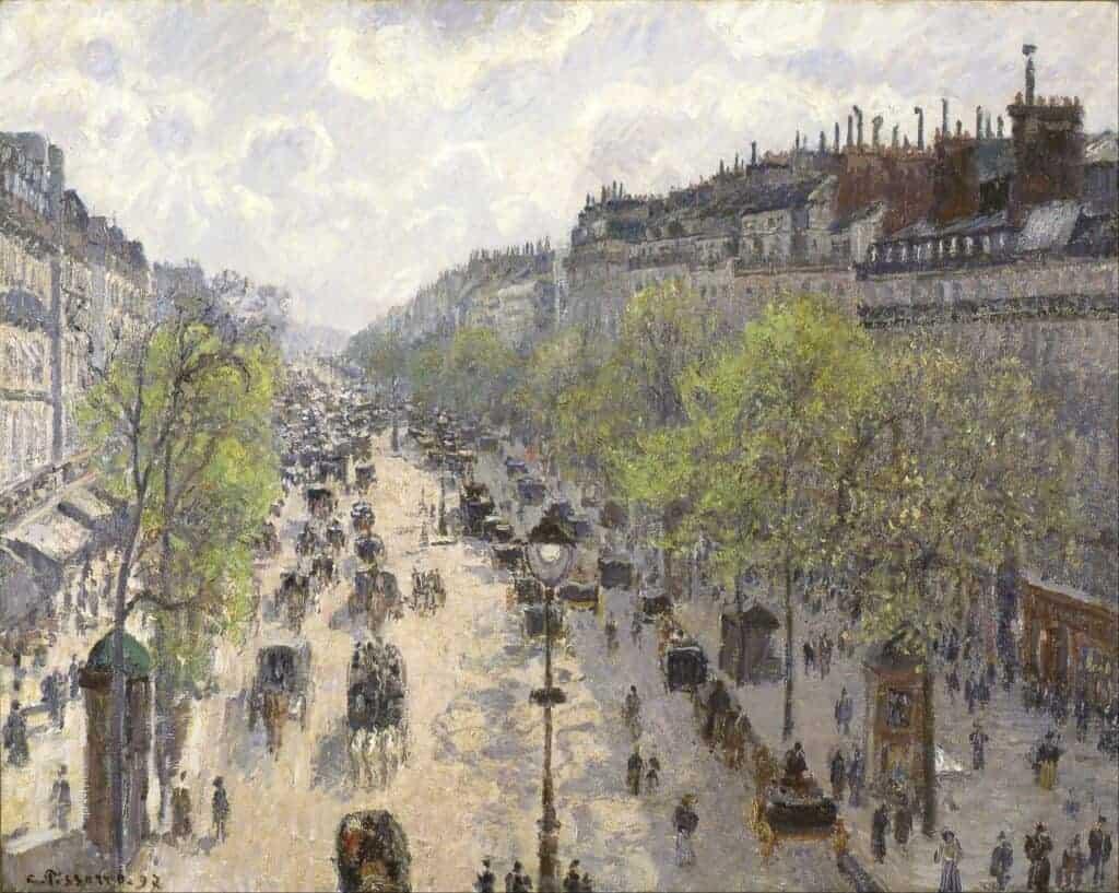 Camille Pissarro, Le Boulevard Montmartre, Matinee de Printemps, 65 cm × 81 cm (26 in × 32 in), 1897.