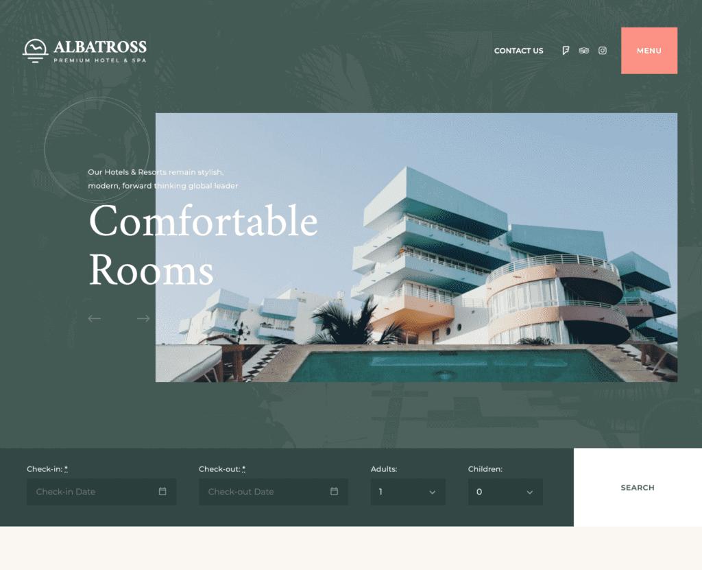 Albatross free elementor hotel template