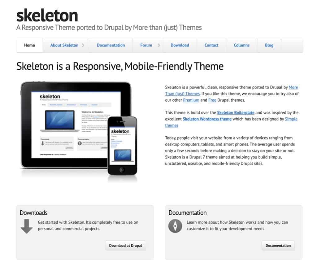 Skeleton drupal free theme
