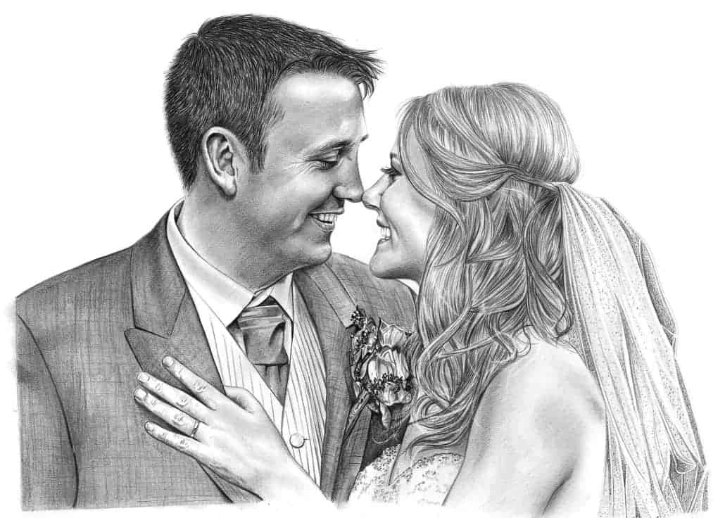 Pencil Drawing of Bride and Groom